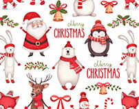 Cute characters and Christmas pattern design