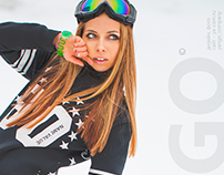 Fashion photoshoot. Hot snowboard!