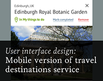 Mobile version of travel destinations service