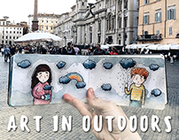 Art in Outdoors. Draw and travel.