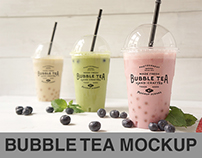 Bubble Tea Branding PSD Mockup