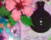 Pink Hibiscus and Black Vase