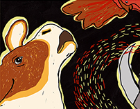 "Illustrated book based on fairytale ""Rabbit's hut""."