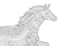 Running horse in zentangle style.