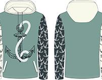 Fashion flat design of a hooded sweatshirt