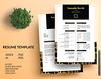 Black and Gold Resume Template / CV Template/ Letterhea