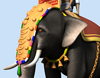Caparisoned Kerala Elephant - (3d Model and Texture)