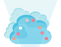 Cloud Service Icon and Brochure illustration