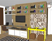 PROJETO: sala de estar, com jantar e escritório