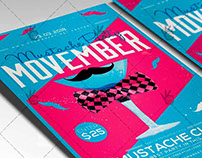 Movember Mustache Party - Seasonal Flyer PSD Template