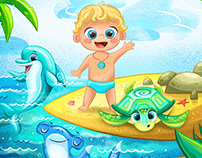 Brand characters design for children's swimming pool
