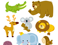 Cute animals vector set.
