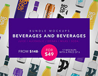 Bundle Packaging Mockups - Beverage Bottle