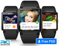 Android Wear Watch GUI Elements free PSD