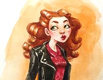 Watercolor handdrawn retro readhead girl illustration