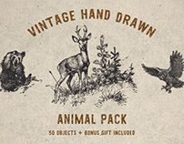 Vintage Animal Pack + Bonus Font