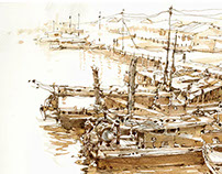 Sketches at Fishing Village03-June2015