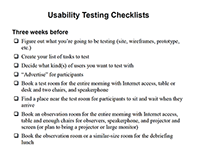 Reference: Usability Test Checklists (Krug)