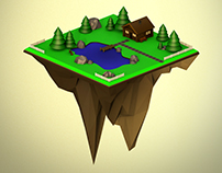 flying Island - lowpoly