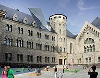 CK Zamek. Courtyard design in Poznan, Poland