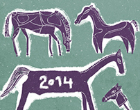Horses. New year postcard.