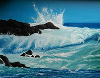 """""""Surf"""" Oil painting on canvas."""