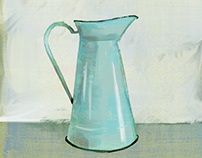 Enamelware Pitcher, Mint