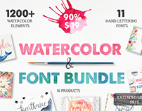 The Watercolor & Font Bundle from Julia Dreams