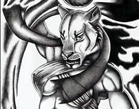 Goddess Sekhmet | ballpoint pen drawing | 2010