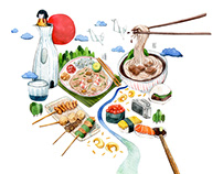 Editorial Illustration - An Appetite for Travel