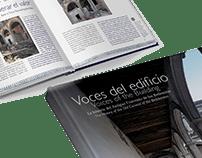 Diseño editorial del libro VOCES DEL EDIFICIO. MIDE.