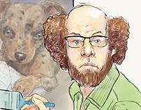 self portrait as Bob Ross