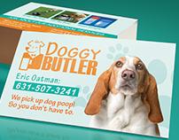 Designed business cards, flyers & logo for Doggy Butler