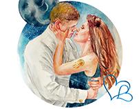 "Illustration, portrait ""Cosmic Love"""