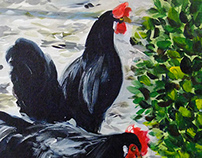 Two black chickens