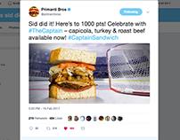Primanti Bros. The Captain Sandwich Launch via Twitter