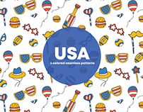 USA Vector Seamless Free Pattern