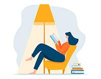 Reading books concept. Leisure vector illustration.