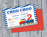 Choo Choo Train Boys and Girls Birthday Invitations Set
