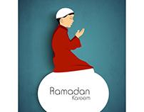 Vector Boy praying Ramadan Kareem card