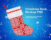 Christmas Sock PSD Mockup