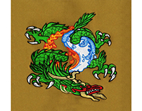 FIRE AND WATER DRAGON EMBROIDERY DESIGN