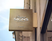 Square Store Signboard Mockup