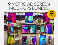 9 Metro Underground Ad Screen Mock-Ups Bundle 5