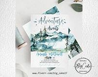 """The adventure awaits"". Invitation card project."
