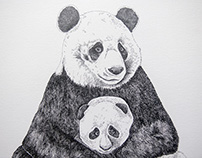 Panda bear (mummy and baby)