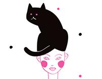 """Illustration Set """"Cat & Girl"""""""