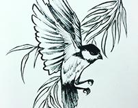 Chickadee Willow spot illustrations