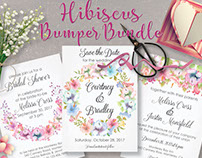 Watercolor Hibiscus blooms: clip art bundle