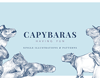 Capybaras Having Fun - Illustrations and Patterns
